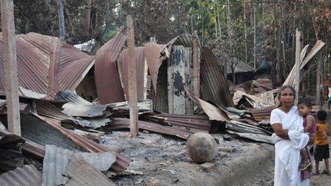 Destroyed houses in the village of Aladin Nagar