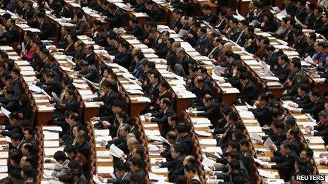 Delegates attend the third plenary session of the National People's Congress (NPC) at the Great Hall of the People in Beijing March 10, 2013.