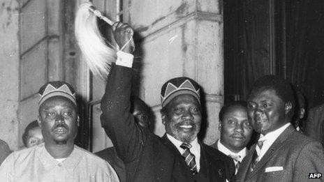 Jomo Kenyatta and Oginga Odinga (l) arriving at talks in London in 1963 to discuss the independence of Kenya