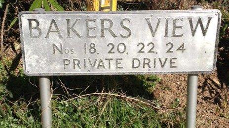 Bakers View street sign, Newton Abbot, Devon