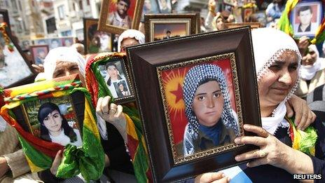 File picture of Turkish Kurdish women holding pictures of their loved ones who were killed in clashes between Kurdistan Workers Party (PKK) guerrillas and Turkish security forces, during a 2011 demonstration in Istanbul