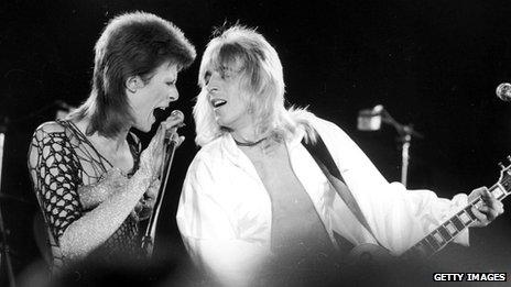 David Bowie and guitarist Mick Ronson