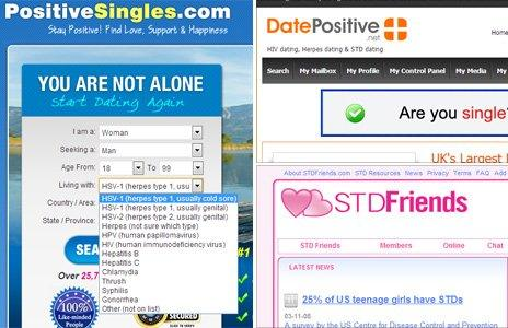 screen grabs from various STI dating sites: Positive singles, date positive and STD friends