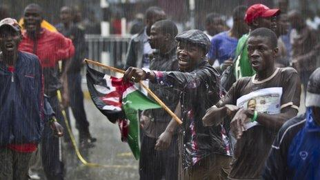 Odinga supporters outside courthouse