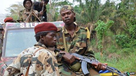 Seleka rebels, who seized Bangui in a rapid-fire assault a week ago, patrol south of Bangui, on 1 April 2013