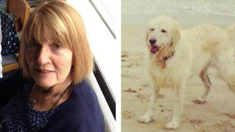 Diane, as she was pictured on Twitter, with one of her dogs