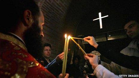 Bulgarians praying - file pic