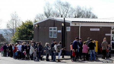 Queues at Morriston Hospital on Saturday