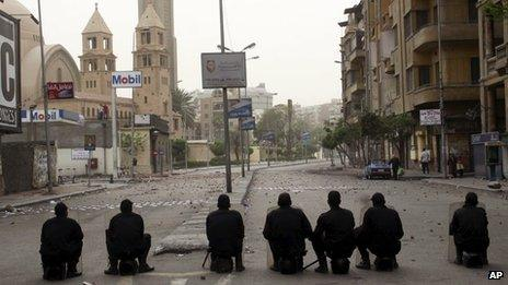 Calm was restored to the area around St Mark's Cathedral in central Cairo 8 April 2013
