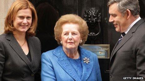 Margaret Thatcher visits Gordon and Sarah Brown at Downing Stree