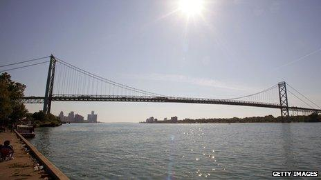 The Ambassador Bridge is shown in Detroit, Michigan June 2012