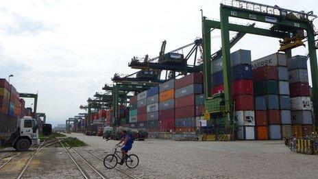Containers at the port of Santos, in Brazil