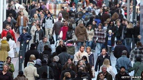 Shoppers in Leeds city centre