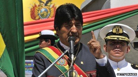 Bolivian President Evo Morales delivers a speech in La Paz