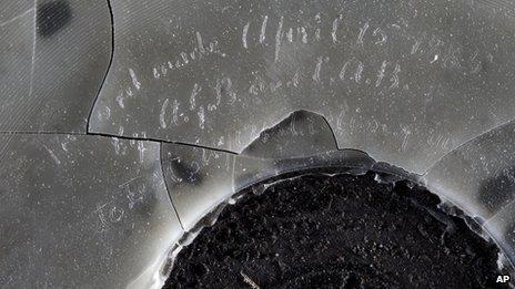 Close-up of wax recording