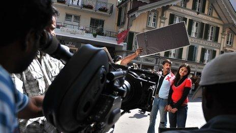 A musical scene from a Bollywood movie being filmed in the Alpine town of Interlaken on September 5, 2008