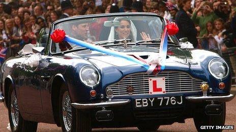 The Duke and Duchess of Cambridge's wedding car, pictured from the front