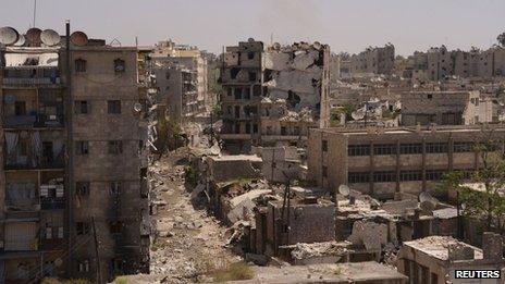 Destruction in Aleppo on 29 April 2013