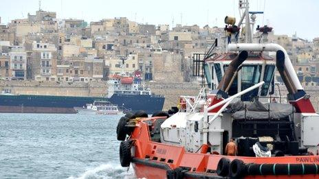 Boat approaching Valetta harbour