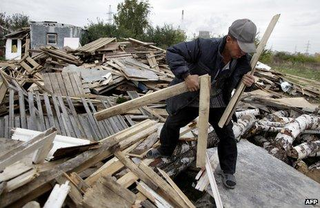 A Tajik migrant worker in Moscow (file image)