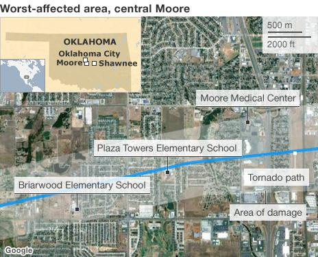 Map of Moore, Oklahoma 20 May 2013