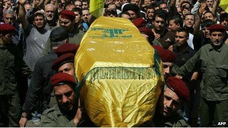 Hezbollah funeral in Beirut (21 May)