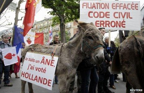 Demonstrators accompanied by donkeys in Paris, 26 May