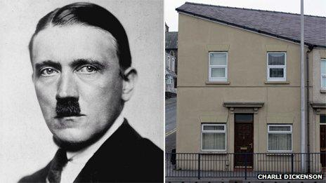 Hitler (left, PA photo); house in Swansea (right, photo by Charli Dickenson)