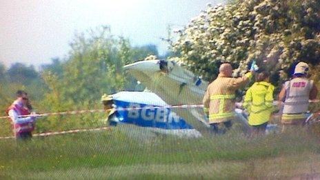 Light aircraft crash at Cranfield Airport