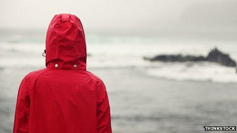 Person in anorak looking out to sea