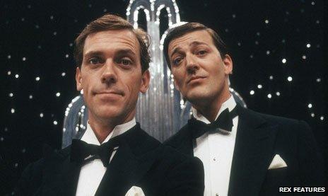 Hugh Laurie as Bertie Wooster and Stephen Fry as Jeeves