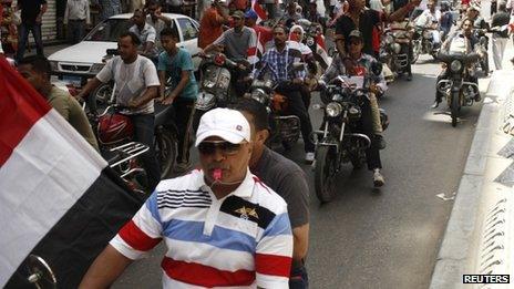 Anti-Morsi demonstrators on motorbikes in Alexandria, 30 June