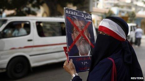 A veiled anti-Morsi protester in Alexandria, 30 June