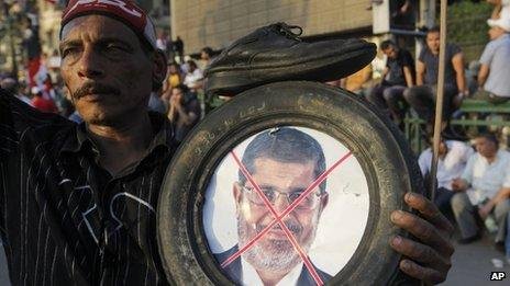A protester in Cairo holds a crossed-out photo of President Morsi inside a tyre, 30 May