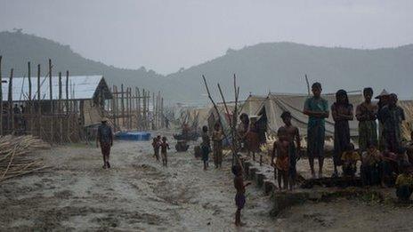 A Rohingya camp in Myebon, Rakhine