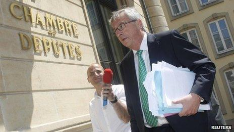 Luxembourg outgoing Prime Minister Jean-Claude Juncker outside parliament on 10 July 2013