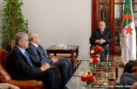 Algerian President Abdelaziz Bouteflika meeting ministers
