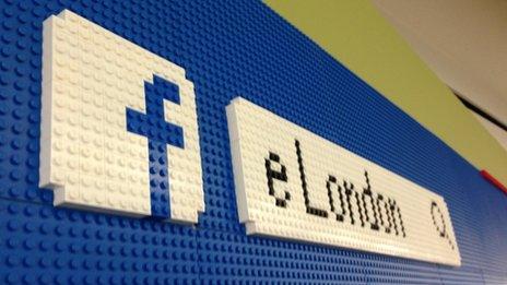 Facebook logo in Lego