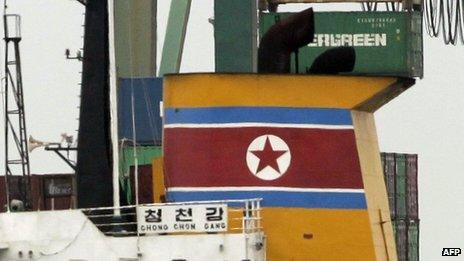 North Korean vessel Chong Chon Gang at Manzanillo harbour in Colon, Panama, on 16 July 2013