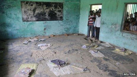 A classroom where contaminated meals were served at a school at Chapra J