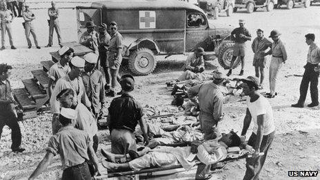 USS Indianapolis survivors treated on the island of Guam, August 1945 (copyright US Navy now in collection of National Archives)