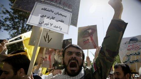 Anti-Israeli demonstrators attending Jerusalem Day rally in Tehran