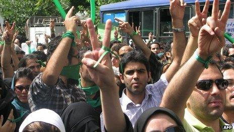 Opposition protesters attending 2009 Jerusalem Day rally with their own brand and slogans