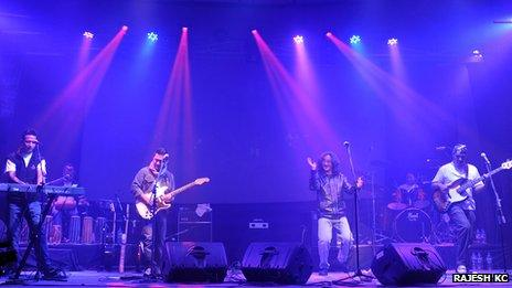 Nepathya band seen performing on stage in an undated file photograph