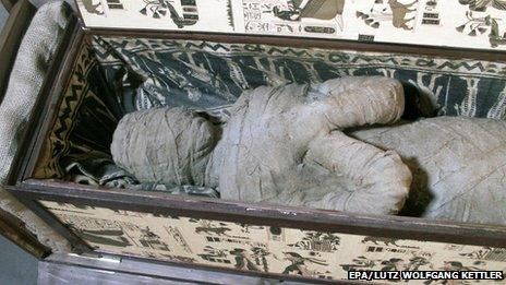 A sarcophagus with a mummy on the attic of a private house in Diepholz, Germany (August 2013)