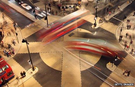 Four-way pedestrian crossing