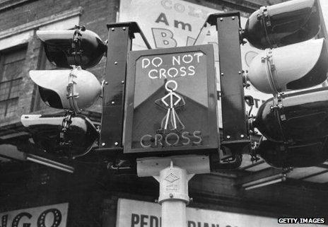 Pedestrian crossing sign in 1963