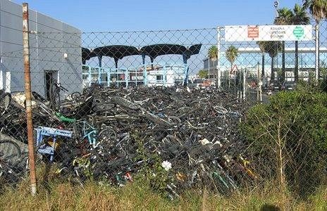 A pile of seized bikes on the Spanish border with Gibraltar