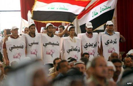 Iraqi men wearing labels in Arabic to identify their different ethnic and religious affiliations, June 2013