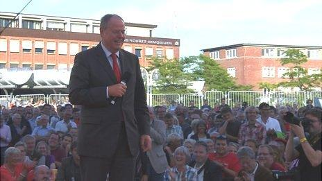 SPD candidate Peer Steinbrueck at election rally